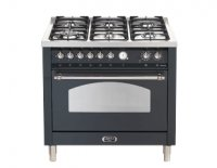 Lofra RUSTICA fornuis RU190.60 6 pits gas-electro-wok 90 cm breed-1 oven zwart