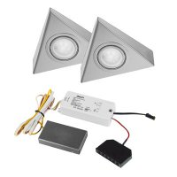 Astra Led set-2 spots-incl. trafo-rvs-warm wit-dimbaar.